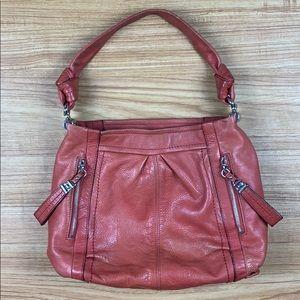 B. Makowsky Orange Leather Hobo Shoulder Bag Purse